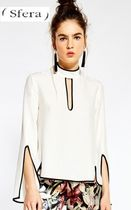 Sfera Plain Party Style High-Neck Puff Sleeves Shirts & Blouses