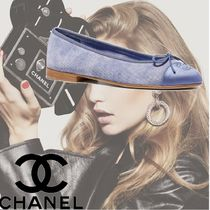 CHANEL Casual Style Plain Leather Ballet Shoes