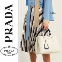 PRADA DOUBLE 2WAY Plain Leather Elegant Style Handbags