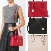 Michael Kors MERCER 2WAY Plain Leather Handbags