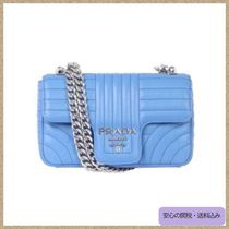 PRADA DIAGRAMME Mare Blue Calf Leather Small Diagramme Flap Shoulder Bag