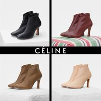 CELINE Round Toe Plain Leather Elegant Style Ankle & Booties Boots