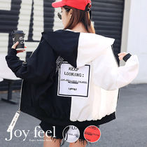 Street Style Bi-color Medium Varsity Jackets