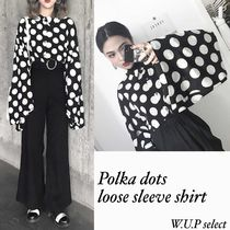 Dots Casual Style Medium Oversized Super-long Sleeves