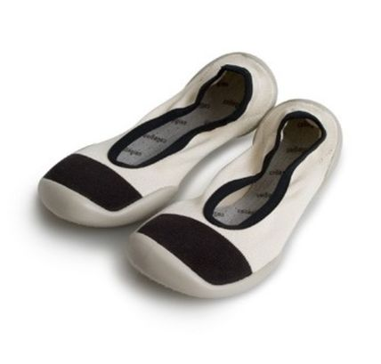 Round Toe Rubber Sole Bi-color Slippers Flats