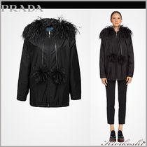 PRADA Plain Medium Elegant Style Peacoats