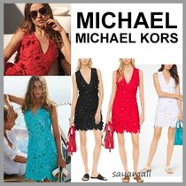 Michael Kors Short Flower Patterns Sleeveless Studded V-Neck
