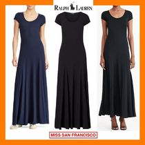 Ralph Lauren Casual Style Maxi U-Neck Plain Cotton Long Short Sleeves
