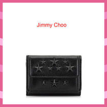 Jimmy Choo Star Unisex Studded Plain Leather Folding Wallets