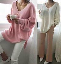 NANING9 V-Neck Long Puff Sleeves Sweaters