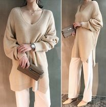 NANING9 V-Neck Long Sleeves Plain Long Sweaters