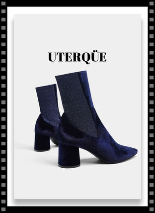 Velvet Chunky Heels Ankle & Booties Boots
