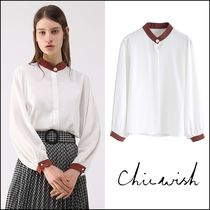 Chicwish Casual Style Chiffon Bi-color Long Sleeves Plain Medium