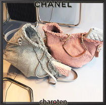 CHANEL ICON Pink Fabric Double Face Medium Shopping Bag