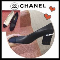 CHANEL MADEMOISELLE Blended Fabrics Bi-color Plain Leather Block Heels