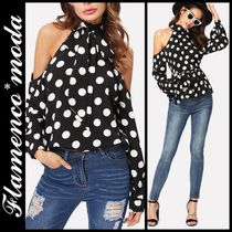 Short Dots Casual Style Long Sleeves High-Neck Cropped