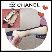 CHANEL ICON Blended Fabrics Bi-color Chain Plain Leather Block Heels