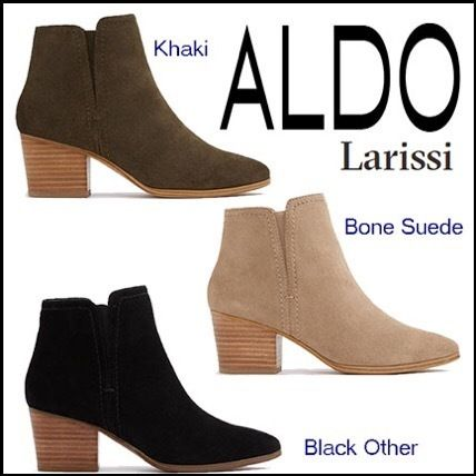1fe7cec316f ALDO Ankle   Booties Casual Style Suede Plain Block Heels Ankle   Booties  ...