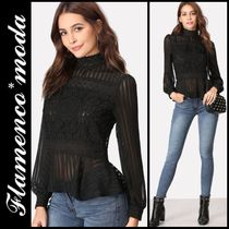 Long Sleeves Lace Elegant Style Shirts & Blouses