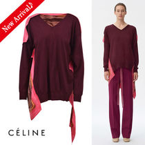 CELINE Flower Patterns Wool Rib Blended Fabrics V-Neck Long Sleeves