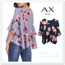 AXPARIS Flower Patterns Boat Neck Medium Elegant Style Puff Sleeves