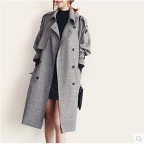 Stand Collar Coats Glen Patterns Medium Elegant Style