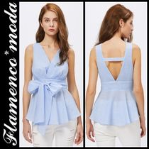 Short Casual Style Peplum Sleeveless Plain Tanks & Camisoles