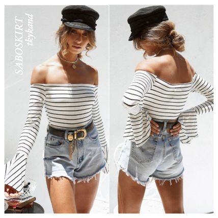 Stripes Casual Style Long Sleeves Dresses