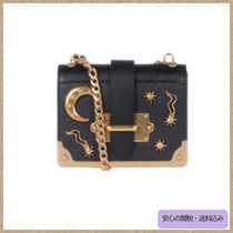 PRADA CAHIER Black Saffiano Moon & Star Studs Micro Cahier Shoulder Bag
