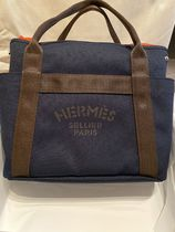 HERMES Casual Style Unisex Canvas Street Style Plain Totes