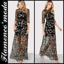 Flower Patterns Maxi U-Neck Cropped Long Party Style Dresses