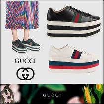 GUCCI Platform Casual Style Unisex Leather
