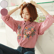 Other Check Patterns Casual Style Long Sleeves Plain Cotton