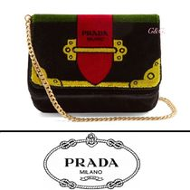 PRADA CAHIER Casual Style 2WAY Chain Plain Leather Shoulder Bags