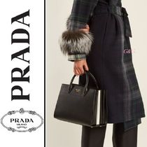 PRADA BIBLIOTHEQUE 2WAY Plain Leather Elegant Style Handbags