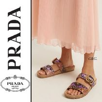 PRADA Camouflage Open Toe Rubber Sole Casual Style Leather