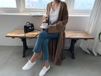 NANING9 Casual Style V-Neck Plain Long Gowns Puff Sleeves Cardigans
