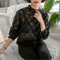 Flower Patterns Lace-up Lace Elegant Style Puff Sleeves