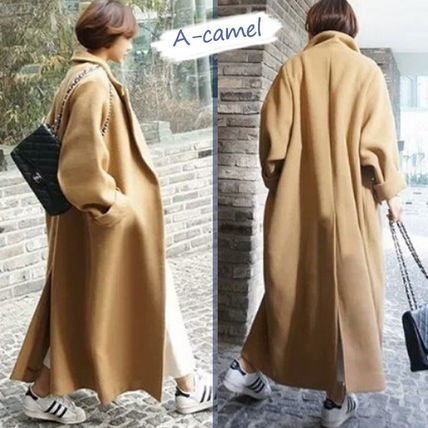 Wool Plain Long Office Style Chester Coats