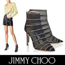 Jimmy Choo Stripes Suede Blended Fabrics Plain Pin Heels Party Style
