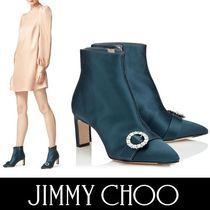 Jimmy Choo Plain Block Heels With Jewels Elegant Style