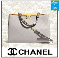 CHANEL Lambskin A4 Office Style Shoulder Bags