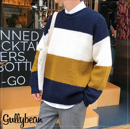 Knits & Sweaters Stripes Street Style Long Sleeves Knits & Sweaters