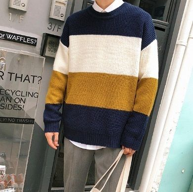 Knits & Sweaters Stripes Street Style Long Sleeves Knits & Sweaters 4