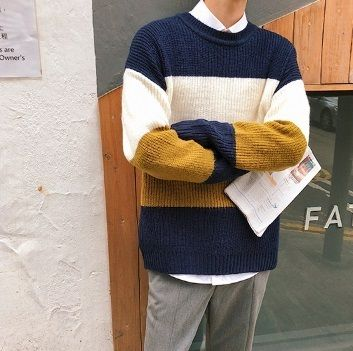 Knits & Sweaters Stripes Street Style Long Sleeves Knits & Sweaters 5