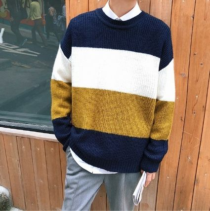 Knits & Sweaters Stripes Street Style Long Sleeves Knits & Sweaters 7