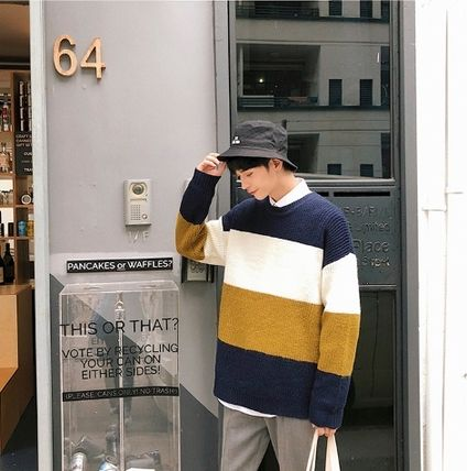Knits & Sweaters Stripes Street Style Long Sleeves Knits & Sweaters 10