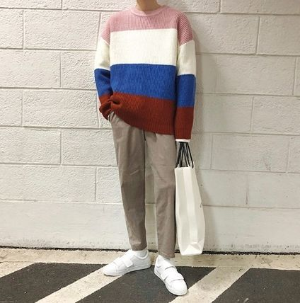 Knits & Sweaters Stripes Street Style Long Sleeves Knits & Sweaters 17