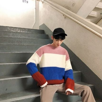 Knits & Sweaters Stripes Street Style Long Sleeves Knits & Sweaters 18