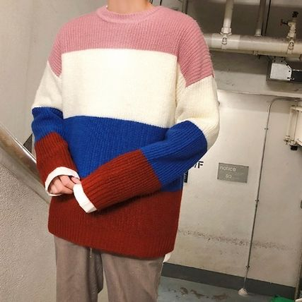 Knits & Sweaters Stripes Street Style Long Sleeves Knits & Sweaters 19